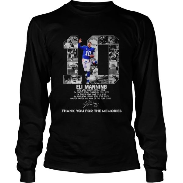 10 Eli Manning thank you for the memories  LongSleeve