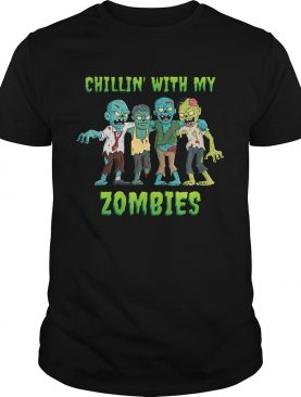 Chillin With My Zombies Halloween Boys Kids Funny TShirt