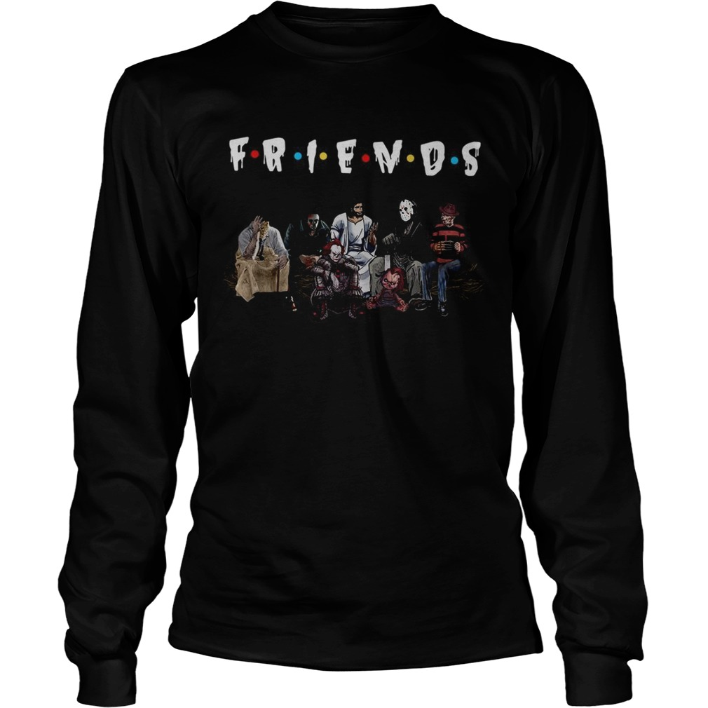 Halloween Friends TV Show horror movie characters and Jesus LongSleeve