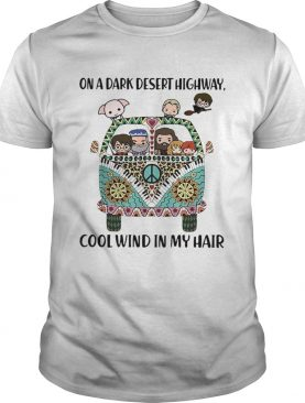 Hippie Harry Potter chibi on a dark desert highway cool wind in my hair shirt