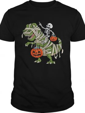 Skeleton Riding T Rex Funny Halloween Boys Girls KidsTShirt