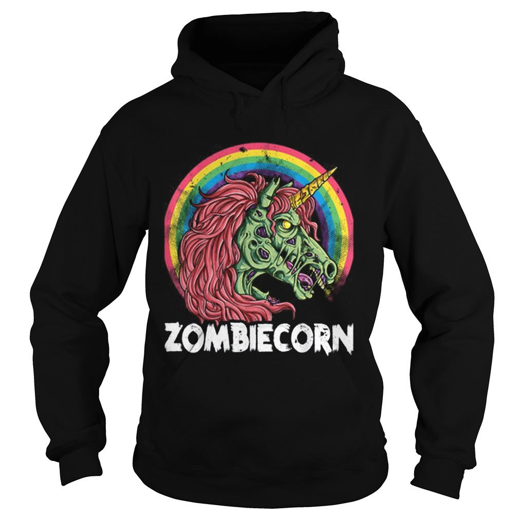 Top Zombiecorn Zombie Unicorn Halloween Women Rainbow Hoodie