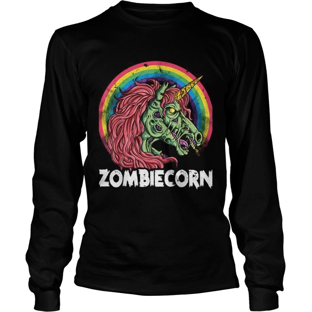 Top Zombiecorn Zombie Unicorn Halloween Women Rainbow LongSleeve