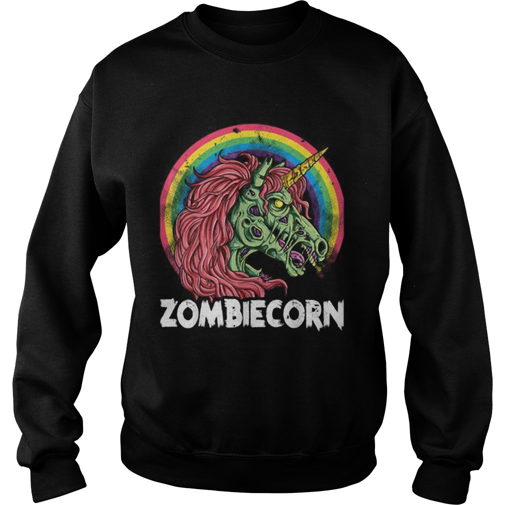 Top Zombiecorn Zombie Unicorn Halloween Women Rainbow Sweatshirt
