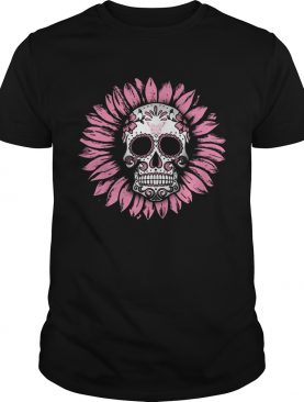 Sunflower Sugar Skull Breast Cancer Awareness shirt