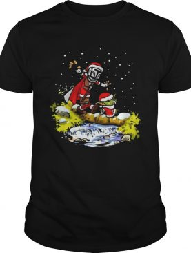 Baby Yoda Walking Under The Snow Christmas shirt