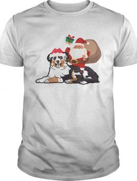 Beautiful Santa Riding Australian Shepherd Christmas Pajama Gift shirt