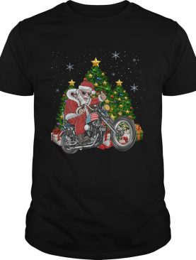 Biker Santa Motorcycle Merry Christmas Tree shirt