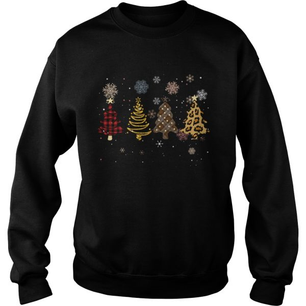 Four Tree Christmas Pattern Cloth Leopard Print Xmas Gift  Sweatshirt