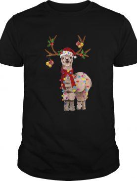 Llama reindeer light Christmas shirt