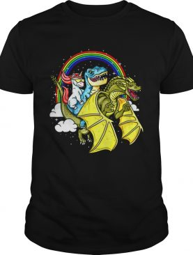 Unicorn Riding TRex Dinosaur Dragon Rainbow shirt
