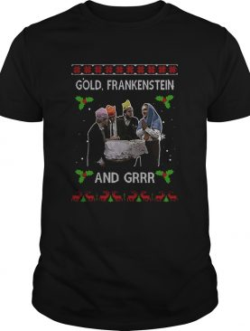 Gold Frankenstein and grrr Ugly Xmas Christmas shirt