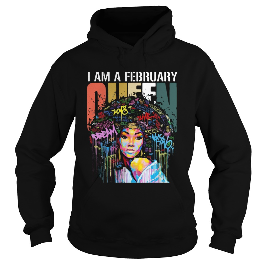 I am A February Queen Colorful Vintage Hoodie