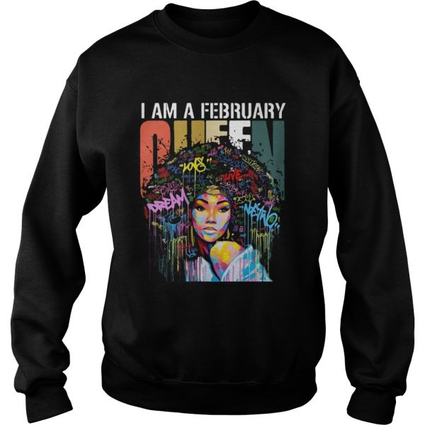 I am A February Queen Colorful Vintage  Sweatshirt