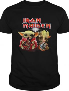 ron Maiden Baby Yoda And Baby Groot Playing Guitar shirt