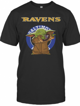 Baby Yoda Baltimore Ravens Logo Star Wars T-Shirt