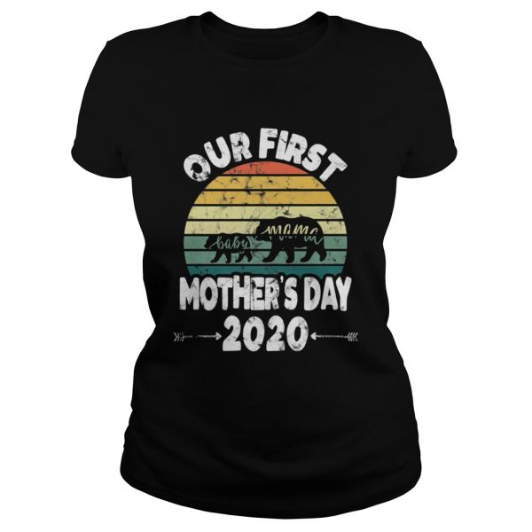 First mothers day mom baby bear Retro Sunset new mom  Classic Ladies