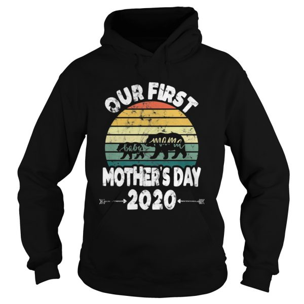 First mothers day mom baby bear Retro Sunset new mom  Hoodie