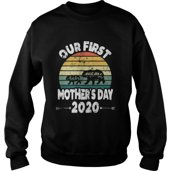First mothers day mom baby bear Retro Sunset new mom  Sweatshirt