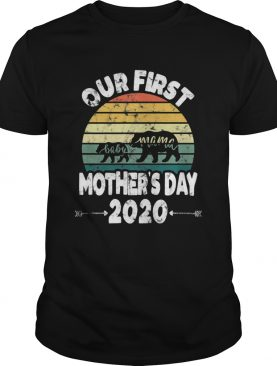 First mothers day mom baby bear Retro Sunset new mom shirt