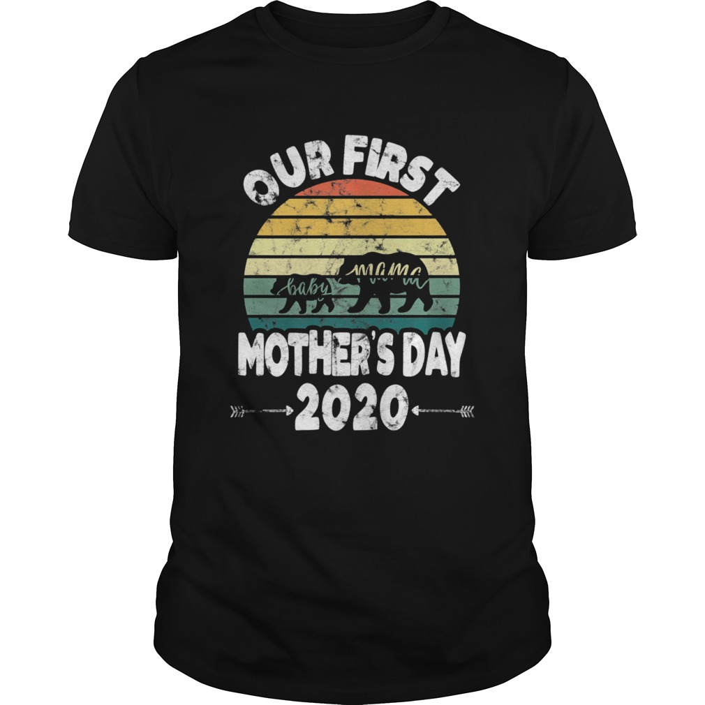 First mothers day mom baby bear Retro Sunset new mom  Unisex