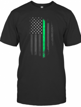 Green Line American Flag St Patrick'S Day T-Shirt