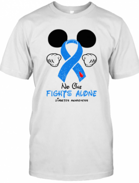 Mickey Mouse No One Fights Alone Diabetes Awareness T-Shirt
