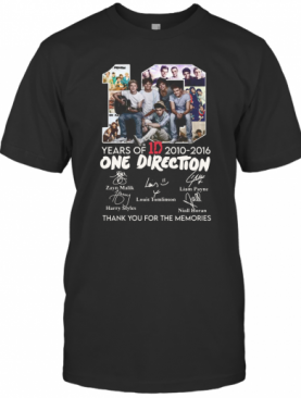 10 Years Of 1D 2010 2016 One Direction Thank You For The Memories Signatures T-Shirt