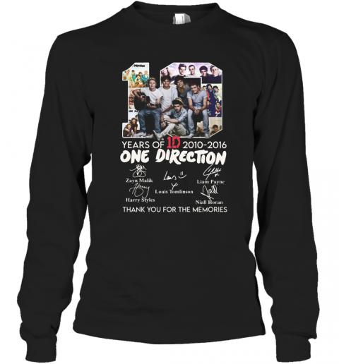 10 Years Of 1D 2010 2016 One Direction Thank You For The Memories Signatures T-Shirt Long Sleeved T-shirt