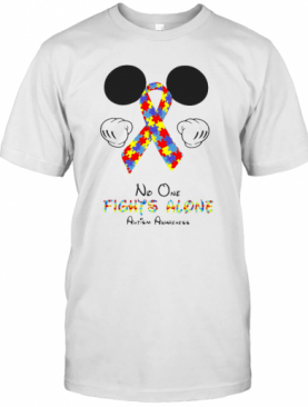Mickey Mouse No One Fights Alone Autism Awareness T-Shirt