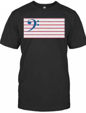 Bass Guitar Clef Flag Embroidered T-Shirt