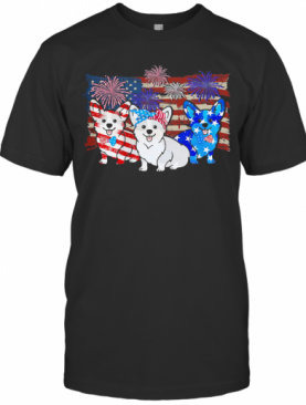 Corgi Firework American Flag Independence Day T-Shirt