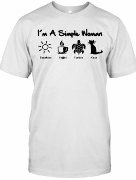 I'm A Simple Woman Sunshine Coffee Turtles Cats T-Shirt