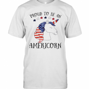 Unicorn Proud To Be An Americorn American Flag Independence Day T-Shirt Classic Men's T-shirt