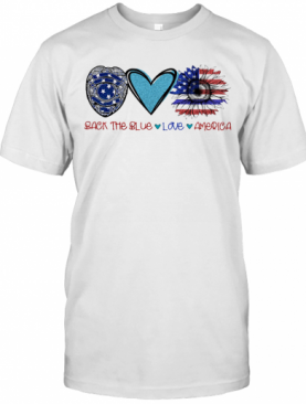 Back The Blue Police Love Heart Sunflower American Flag Veteran Independence Day T-Shirt
