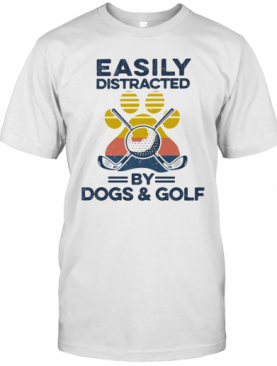 Easily Distracted By Dogs And Golf Footprint Vintage Retro T-Shirt