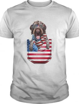 German wirehaired pointer pocket american flag independence day shirt