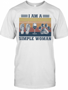 I Am A Simple Woman Wine Paw Vintage T-Shirt