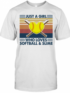Just A Girl Who Loves Softball And Slime Vintage T-Shirt