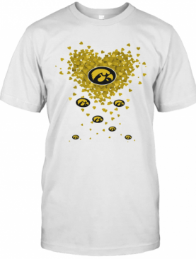 Love Iowa Hawkeyes Logo Hearts T-Shirt