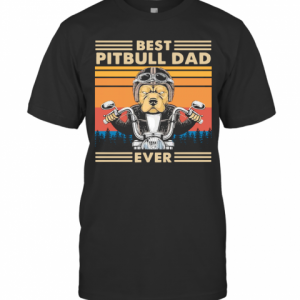 Motorcycle Best Pitbull Dad Ever Vintage T-Shirt Classic Men's T-shirt