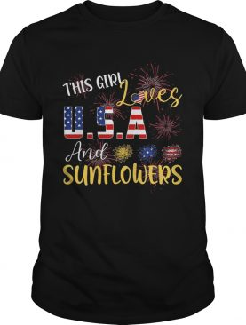 The girl loves and sunflowers USA American flag veteran Independence day shirt