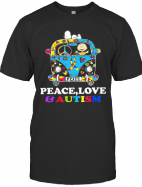 Hippie Bus Snoopy And Charlie Brown Peace Love And Autism T-Shirt