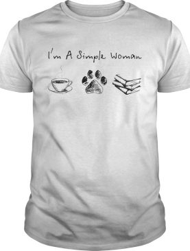 Im a simple woman coffee cat paw book shirt
