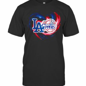 Los Angeles Dodgers And Los Angeles Clippers Heart Color T-Shirt Classic Men's T-shirt