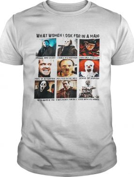 What women look for in a man strong and silent loves his mother Halloween shirt