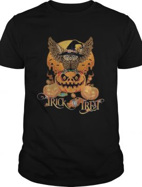 Happy halloween owl witch trick or treat pumpkin shirt