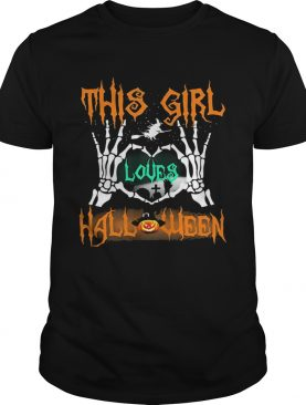 Skeleton this girl loves halloween heart shirt