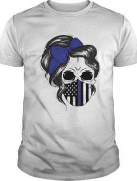 Skull Woman Face Mask American Flag shirt