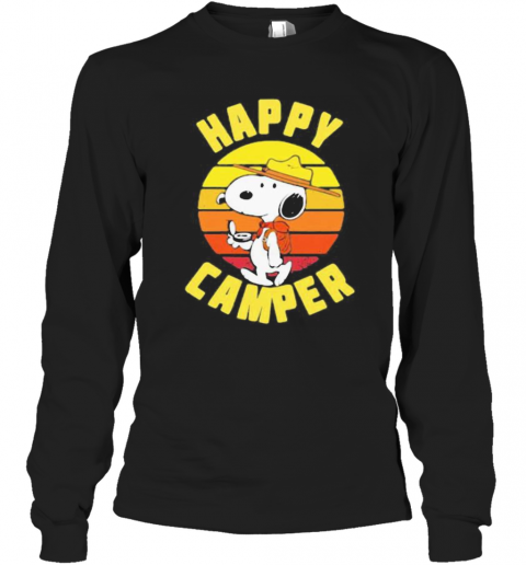 Snoopy Happy Camper Vintage Retro T-Shirt Long Sleeved T-shirt